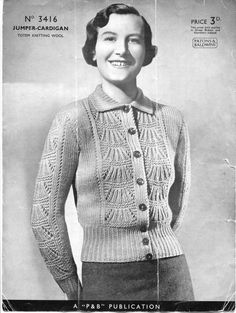 50abe2834 1930s Ladies Lace Front Jumper Cardigan 38