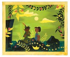 My favorite Peter Pan and Wendy image by Mary Blair. I so wish this was sold as a giclee or something. Look at those elvish eyes!