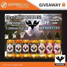 3 x 1200ml Vanval E-Liquid Giveaway