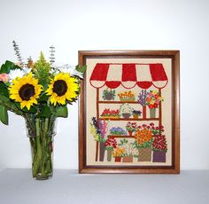 Flower Cart Wall Hanging by CheekyVintageCloset on Etsy, $34.00