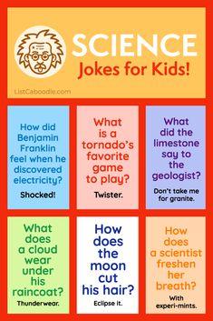 Kids Jokes And Riddles, Funny Jokes For Kids, Good Jokes, Best Kid Jokes, Summer Jokes For Kids, Daily Jokes, Funny Riddles, Science Jokes, Teaching Science
