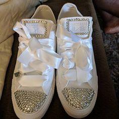 Swarovksi Crystal Designed Wedding Vans Authentic Shoes - Vans Wedding Shoes - Custom Wedding Shoes - Rhinestone Vans - Video In Description Rhinestone Wedding Shoes, Wedding Converse, Bridal Shoes, Pearl Design, Crystal Design, Bling Shoes, On Shoes, Custom Design Shoes, Vans Authentic