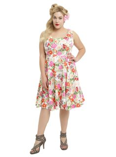 """<p>We see you, wearing this dress, sipping a sweet tea, wearing white gloves and sitting on white porch enjoying a spring afternoon. Sound wonderful? We think so too.White fit and flare swing dress from Hearts and Roses with multi-color pink, green and orange floral print, princess seam bodice and back zipper closure.</p>  <p>Size 0: bust 40-42""""<br /> Size 1: bust 42-44""""<br /> Size 2: bust 46-48""""<br /> Size 3: bust 50-54""""<br /> Size 4: bust 54-58""""<br /> S..."""