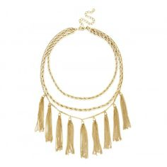 Rope and Fringe Necklace  - Gold