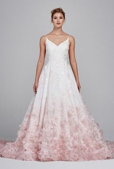 Kelly Faetanini Fall 2017 V-neck silk organza ball gown with floral embroidery