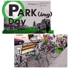 """Join Downtown Ventura on Fri, Sept 19th for PARKing Day Ventura as we re-think the way our streets are used☆ Downtown Ventura, along with cities, artists, activists and citizens around the globe, will transform metered parking spaces into temporary public parks and other social spaces, as part of the annual event called """"PARK(ing) Day. Discover more http://parkingday.org/ #downtownventura #parkingday2014 #urbanart #socialspace"""