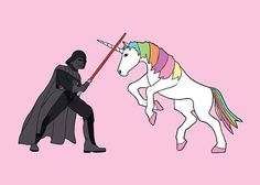Darth Vader fighting Unicorn 5x7 print by linedraw on Etsy