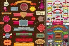 Color Ribbon tags design vector