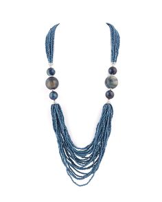 Stylish Prussian Blue Beaded Necklace