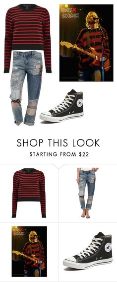 """Kurt Cobain outfit"" by kaley-langdon ❤ liked on Polyvore featuring Marc by Marc Jacobs, BLANKNYC and Converse"