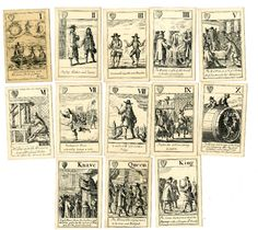 """Complete facsimile pack of 52 """"Cavalier"""" playing-cards satirising the Commonwealth. Each card is occupied by a figure subject with descriptive verse below. In the top left corner is a suit-mark and in the top right a Roman numeral or the name of the court card.  Lithograph Backs pink In original box 1886"""