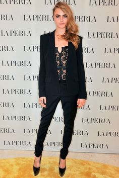 Cara Delevingne Wears A Blazer And Lace Corset To A La Perla Store Opening In London, 2014
