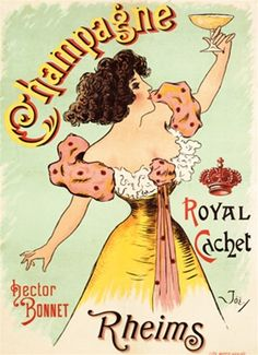 Champagne Rheims poster by Joe 1900 France - Beautiful Vintage Posters Reproductions. French wine and spirits poster features a woman in yellow and pink dress holding up a glass of champagne pastel green background. Giclee Advertising Prints and Posters