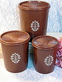 Vintage Tupperware Servalier Brown Canister Set Sugar Coffee Tea