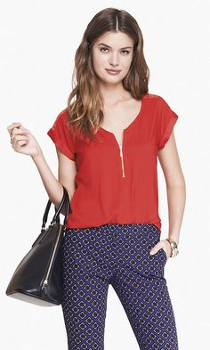 Express - mixed texture zip front blouse in sultry cobalt $39.90
