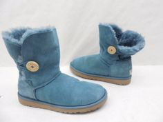 UGG Australia Womens 5803 Teal Suede Bailey Button Shearling Boots Size 8 #UGGAustralia #SnowWinterBoots