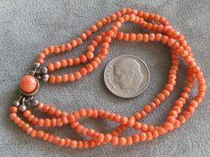 "3STR Antique Natural Italian Salmon Coral Bead Bracelet 6 8"" s s Clasp | eBay"