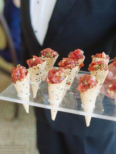 Tuna tartare wedding reception appetizer