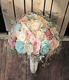 Mint and pink flower bouquet - Brides of Adelaide