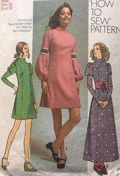 "Vintage 1970s sewing pattern Simplicity 9625 Princess Dress Lantern Sleeves B34"""
