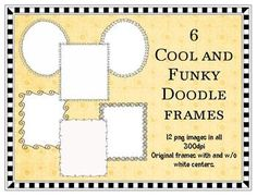 6 Cool and Funky Doodle Frames Clip Art $