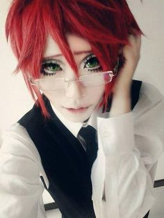 young Grell cosplayer Best Cosplay, Anime Cosplay, Black Butler Cosplay, Trans Gender, People, Lovers, Beautiful, Makeup, Women