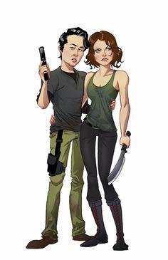 'The Walking Dead' cast reimagined in cartoon style Edward Pun Art Blog