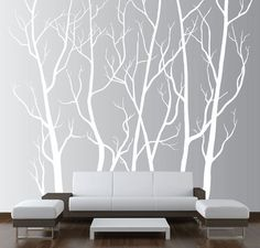 Large Wall Art Decor Vinyl Tree Forest Decal Sticker Choose Size and Color | eBay