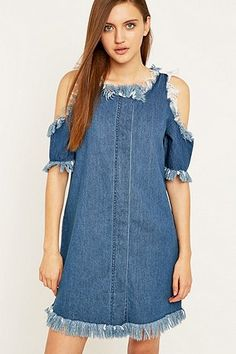 Noisy May Ripped Denim Cut-Out Dress