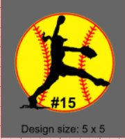 Softball player with number Car Window Decal. Decals made out of outdoor fdc vinyl. by MoreThanGlitz on Etsy