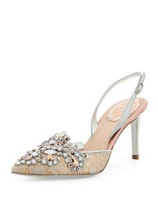 Jeweled Lace Halter Pump, Nude/Silver