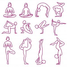 Yoga poses vector silhouettes Premium Ve. Seated Yoga Poses, Bikram Yoga Poses, Partner Yoga Poses, Yoga Poses For Back, Yoga Drawing, Drawing Poses, Drawing Lessons, Drawing Ideas, Yoga Vector