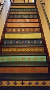 s 15 bold ways to redo your outdated staircase without remodeling, home improvement, stairs, Stencil a set of plywood risers Foyer Staircase, Staircase Makeover, Staircase Design, Staircase Painting, Staircase Ideas, White Staircase, Painted Staircases, Painted Stairs, Painted Ceilings