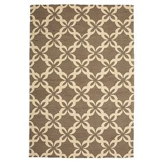 Indoor / outdoor rug designed in a bold, attention-grabbing trellis motif.  The rug is resistant to water, stains, mildew and fading.