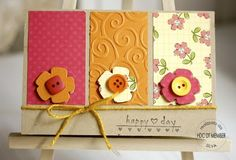 with various colored papers & button flowers. use burlap flowers Button Cards, Card Making Inspiration, Card Sketches, Card Tags, Paper Cards, Cool Cards, Flower Cards, Creative Cards, Greeting Cards Handmade