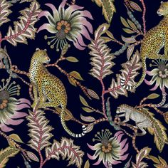 Monkey Bean Night Fabric : Ardmore fabric featuring leopards and mischievous monkeys who play and hide amongst the Lucky Bean trees in this elegant design. Illustration Photo, Illustrations, Jungle Illustration, Motifs Textiles, Matching Paint Colors, Modern Home Furniture, Upcycled Furniture, Old Things, Things To Come