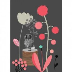 Audrey Jeanne Ulule Poster of an owl.  Love the grey and coral pairing with a hint of turquoise