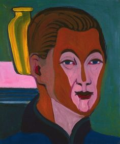 1925 HEAD OF THE PAINTER by Ernst Ludwig Kirchner (1880~1938) | He was a German expressionist painter and printmaker and one of the founders of the artists group Die Brücke