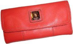 Women's Tignanello Wallet Flap Check Clutch Genuine Leather Papaya Tignanello. $69.00