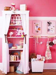 bhg via organizing made fun blog - curtains on shelves, rolling pins, cookie trays - so sweet!