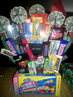 Teenagers candy bouquet. Christmas present for my niece.  Loaded down with candy, gift cards, lottery tickets, trinkets & cash. :)