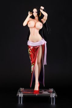 Sex Nude Figures One Piece Boa Hancock Sexy Girls Resin Action Figure (Red)  35cm Painted Model Toy High Quality