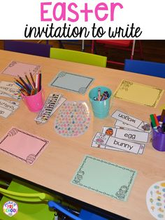 Easter invitation to write for table time/morning work. Plus peeps 5 senses and taste test FREEBIE. For preschool, pre-k, and kindergarten.