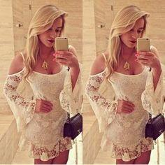 Moda para mujer atractiva del cordón del Apagado-Hombro del club del partido blanco mini vestido negro