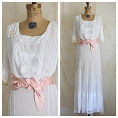 Authentic Antique Dress / 1910s Dress / Sheer Net Lace / Edwardian Dress / Victorian Dress / Size Medium