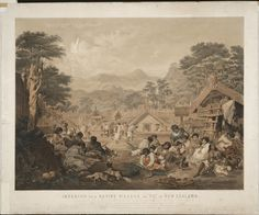 "Gilfillan, John Alexander 1793-1864 :Interior of a native village or ""pa"" in New Zealand, situated near the Town of Petre, at Wanganui... J.A. Gilfillan, pinxt., E. Walker, lithr. [London] Day & Son [1850]"