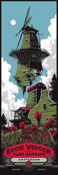 Eddie Vedder Amsterdam Concert Poster by Ken Taylor