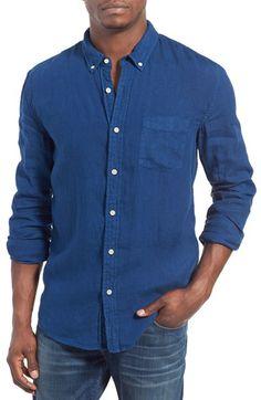 Lucky Brand Trim Fit Solid Linen Woven Shirt