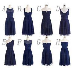 navy blue bridesmaid Dress,chiffon bridesmaid Dress,short bridesmaid dress,mismatched bridesmaid dress,PD241