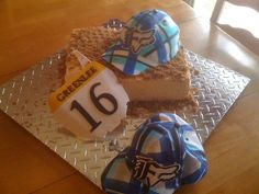 plaid hat cake with gumpaste number plate